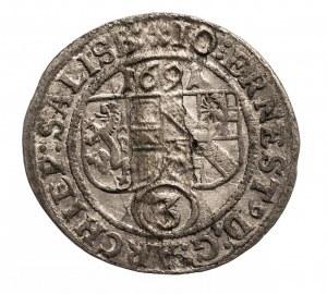 Austria, Salzburg 3 Kreuzer 1691 Johann Ernst von Thun und Hohenstein 1687-1709.