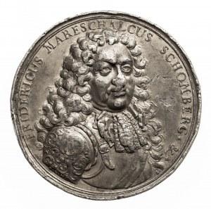 NIEMCY, ŚMIERĆ FRYDERYKA SCHOMBERGA W BITWIE NAD RZEKĄ BOYNE, 1690. Odlew w cynie.
