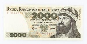 Polska, PRL 1944 - 1989, 2000 ZŁOTYCH 1.05.1977, seria B.