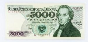 Polska, PRL 1944 - 1989, 5000 ZŁOTYCH 1.06.1982, seria N.
