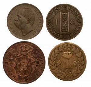 Zestaw 4 monet miedzinych z XIX wieku