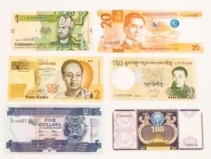 Różne państwa, zestaw banknotów (6 szt.)