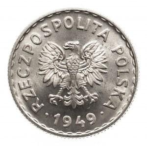 Polska, PRL 1944-1989, 1 złoty 1949 aluminium