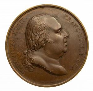 Francja, Ludwik XVIII, medal upamiętniający odmowę zrzeczenia się tronu w Warszawie w 1803 roku.