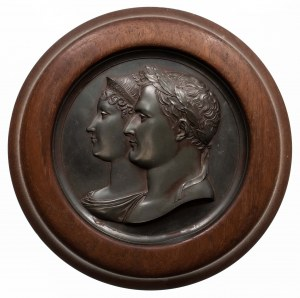 Francja, medalion z portretem pary cesarskiej Napoleona I Bonaparte i Marii Ludwiki