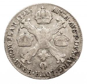 Austria, Niderlandy, Franciszek II, 1/4 talara 1793 B, Kremnica (2)