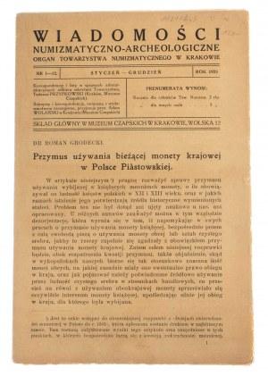 Wiadomości Numizmatyczno-Archeologiczne rok 1923, Kraków