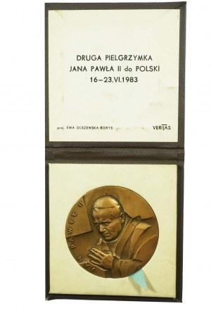 MEDAL Jan PAweł II, Druga pielgrzymka Jana Pawła II do Polski 16-23.VI.1983, proj. Ewa Olszewska-Borys