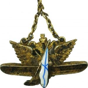 IMPERIUM ROSYJSKIE Żeton / Odznaka na wojskową flotę powietrzną. SREBRO pr. 84, sygnowany