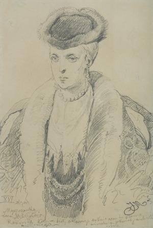 Matejko Jan, MARIANNA Z MYSZKÓW RADZIWIŁŁOWA, PRZED 1860
