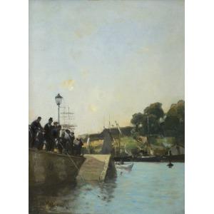 Gierymski Aleksander, WIDOK NABRZEŻA SEKWANY, OK. 1892