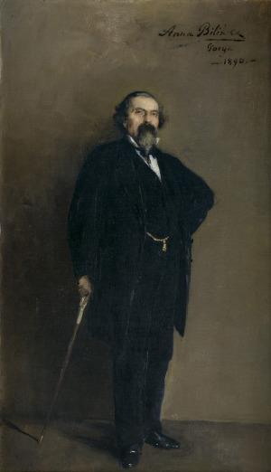 Bilińska - Bohdanowiczowa Anna, PORTRET MĘŻCZYZNY Z LASECZKĄ, 1890