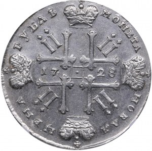 Russia Rouble 1728 - Peter II (1727-1729) NGC AU details