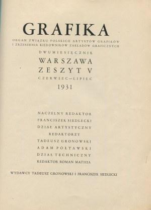 Grafika. Zeszyt V (czerwiec-lipiec 1931) [okładka Tadeusza Gronowskiego]