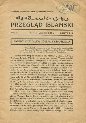 Przegląd Islamski. Organ Muzułmańskiej Gminy m. st. Warszawy. Zeszyt 1-2 z 1935