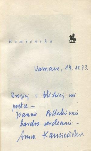 KAMIEŃSKA Anna - Poezje wybrane [AUTOGRAF]