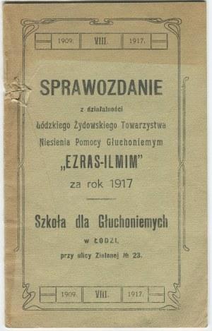 [judaika] Sprawozdanie z działalności Łódzkiego Żydowskiego Towarzystwa
