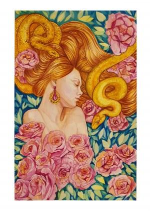 Danuta Kolis, Ewa w ogrodzie, akwarela na papierze, 44,5 x 29 cm , sygn.p.d DK