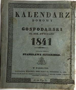 KALENDARZ DOMOWY I GOSPODARSKI NA ROK 1841