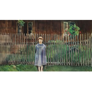 Julian Fałat (1853 Tuligłowy - 1929 Bystra), Widok z Bystrej. Córka artysty Kuka, 1907 r.