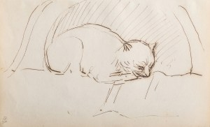 Jacek Malczewski (1854 Radom - 1929 Kraków), Śpiący kotek