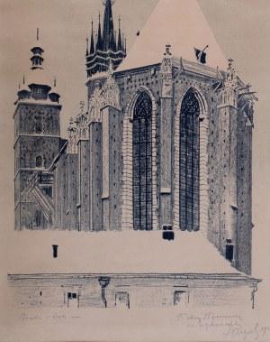 Leon Wyczółkowski (1852 Huta Miastkowska k. Garwolina - 1936 Warszawa), Widok od wschodu na Kościół Mariacki w Krakowie
