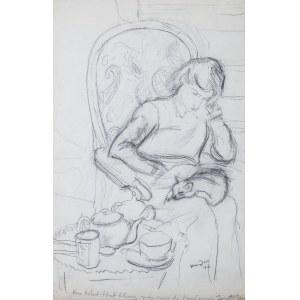 Henryk Hayden (1883 Warszawa - 1970 Paryż), Kobieta z kotem na kolanach, 1946 r.