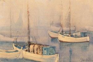 Zofia Stankiewicz (1862 Ryźna/Ukraina - 1955 Warszawa), Rybackie łodzie żaglowe w porcie