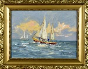 Eugeniusz DZIERŻENCKI (1905-1990), Łodzie na morzu