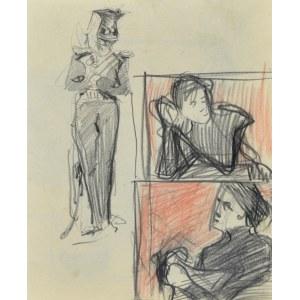 Stanisław KAMOCKI (1875-1944), Stojący ułan i szkice popiersia kobiety, 1894 (?)