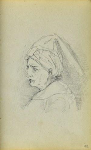 Jacek MALCZEWSKI (1854-1929), Popiersie kobiety z chustą upiętą na głowie ukazane z lewego profilu