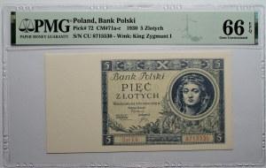 5 złotych 1930 - seria CU - PMG 66 EPQ
