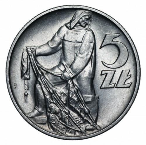 PRL - 5 złotych 1958 Rybak - WĄSKA ósemka