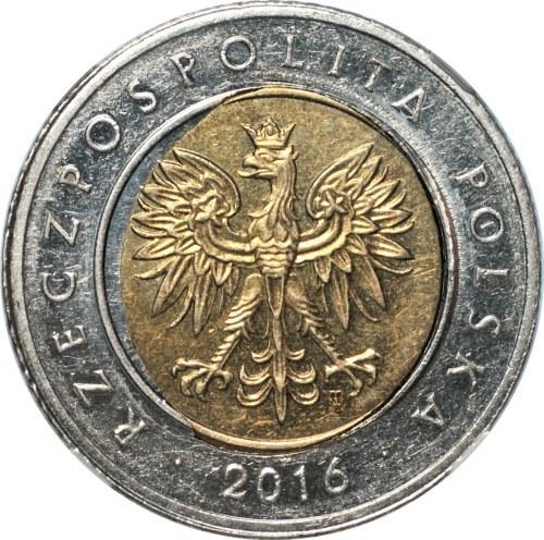 III RP - 5 złotych 2016 - MINT ERROR MS 63