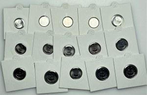 PRL - 15 sztuk menniczych monet aluminiowych od 1 grosza do 20 groszy (1949-1978) mennicze