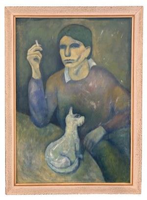 Roman Zakrzewski (1955 - 2014), Portret własny artysty z kotem