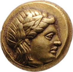 Lesbos, Mytilene, 450 - 330 př.Kr., Elektronová hekta (1/6 Statéru), hlava Apolóna/ hlava