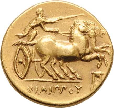 Makedonie, Filip II., 359 - 336 př.Kr., Statér, Hlava Apolóna doprava / biga doprava,