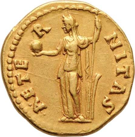 Řím, Faustina starší, manželka Antonina Pia, Aureus, Rv:AETERNITAS., Fortuna držící globus