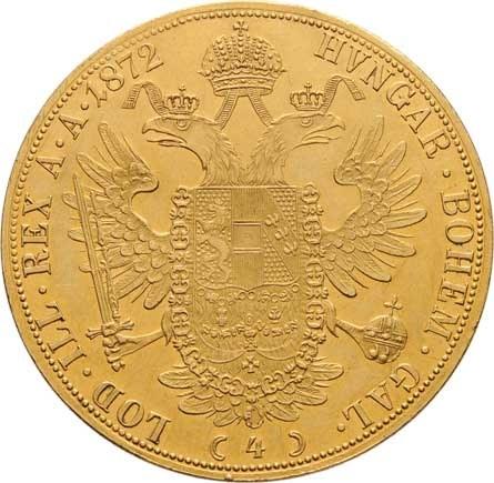 František Josef I., 1848 - 1916, 4 Dukát 1872 (spolu s prvním typem pouze 12.000 ks),
