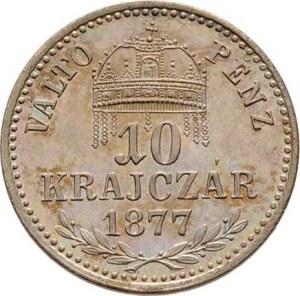 Rakouská a spolková měna, údobí let 1857 - 1892, 10 Krejcar 1877 KB - prvoražba (mimořádná