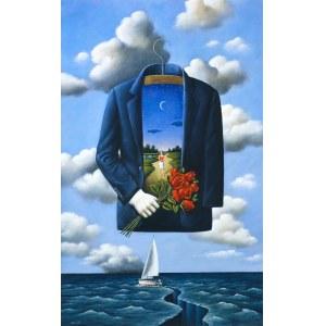 Rafał Olbiński, Kompozycja z marynarką, bukietem róż i łódką na wodzie