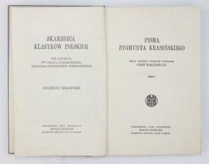 KRASIŃSKI Zygmunt - Pisma. Wyd., objaśnił i wstępem poprzedził Józef Kallenbach. T. 1-4. Warszawa [1922]. Wyd....