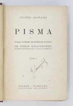 SŁOWACKI Juljusz - Pisma. Wydał, wstępem i objaśnieniami opatrzył S. Kołaczkowski. T. 1-4 (w 2 wol.). Kraków-...