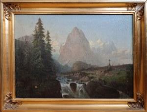Wilhelm WOLLSCHLAGER ?, XIX w., Pejzaż z wodospadem