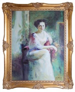 A. EDMUND, XX / XXI w., Modelka w fotelu