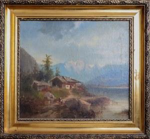 Monogramista K. F., XX w., Górska chata nad jeziorem