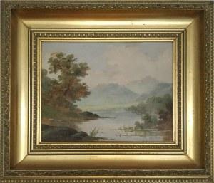 Malarz nieokreślony XX w., Pejzaż z jeziorem
