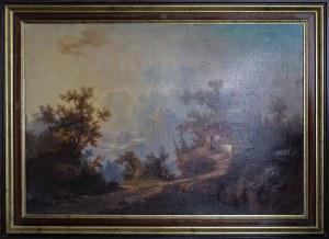 Malarz nieokreślony, XIX w., Pejzaż z górską chatą