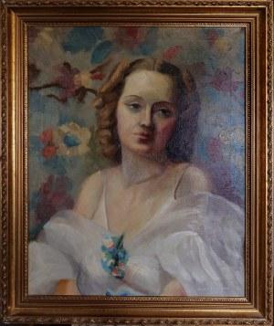 Sallie C. JOHNSTON, XX w., Portret kobiety w białej sukni, 1937